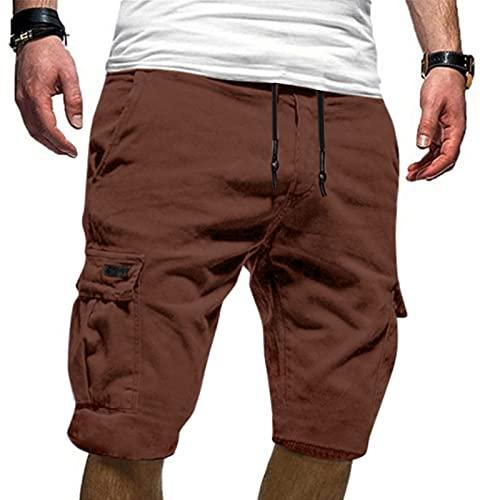Esque Pantalones Cortos Deportivos Casuales De Verano con Herramientas Talla Grande para Hombre,Pantalones Correr Entrenamiento Gimnasio Ropa Informal,Marrón,4XL