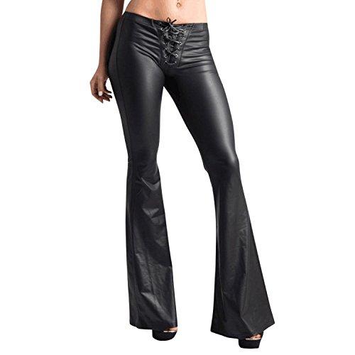 LAEMILIA Damen Leggings Stretch PU Lederhose Hohe Taille Kunstleder Damenhose Stretch Smooth Skinny Leggings Schlaghose