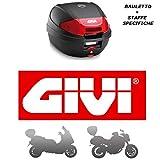 Givi - Baúl de 30 l E300N2 + Casquillo 780FZ Monolock + Placa M5M Ducati Monster 696 2008 2014 con catadióptricos Rojos