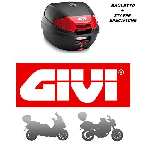 Givi - Baúl de 30 l E300N2 + Casquillo SR5611 Monolock Piaggio Liberty 125 I Get 2016 2019 con catalizadores Rojos