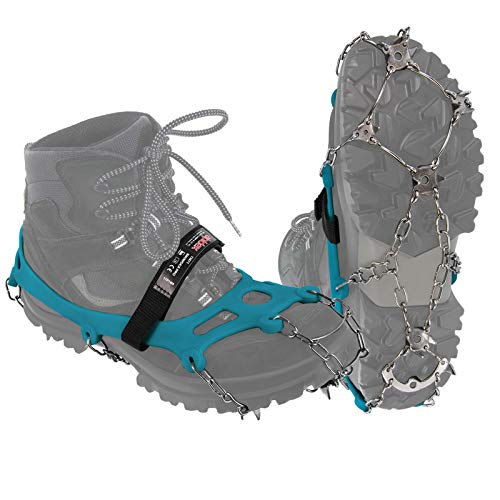 ALPIDEX Grödel Steigeisen für Bergschuhe mit Edelstahlspikes 21 Zähne Schuhkrallen Schuhspikes Crampons Klettern Bergsteigen Trail Running Winter Outdoor, Größe:M, Farbe:Blue