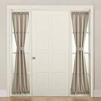 Sun Zero 50220 Barrow Front Door Sidelight Curtain Panel with Tie Back 26  x 72  Stone