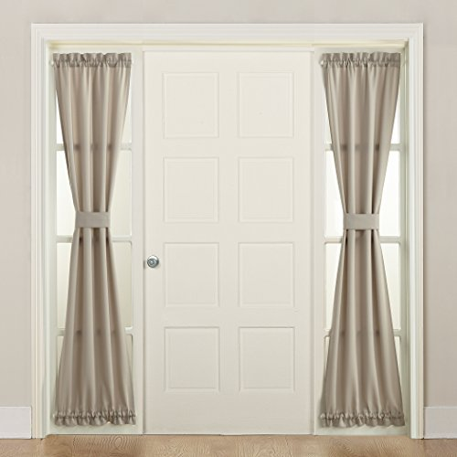 "Sun Zero 50220 Barrow Front Door Sidelight Curtain Panel with Tie Back, 26"" x 72"", Stone"
