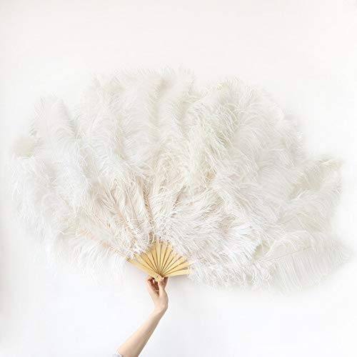 Big Ostrich Marabou Feathers Fan with Bamboo Staves for Belly Dance Halloween Party Ornament Decor Accessory 13 Bones - White - Right Hand - Showgirl Feather Fans - Feather Fans Large