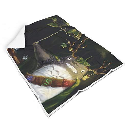 STBlanketshop Gemütlich Mikrofaser Decke Werfen Regenschirm Ko Chuu Der Wald Spiri Druck Magisch Picknickdecke Außendekoration Erwachsene&Kinder White 130x150cm