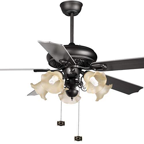 Luz de ventilador de techo Luz de ventilador de 132 cm Ventilador de techo con luz hoja de madera lámpara de techo de la sala de estar dormitorio comedor ventilador de techo suave