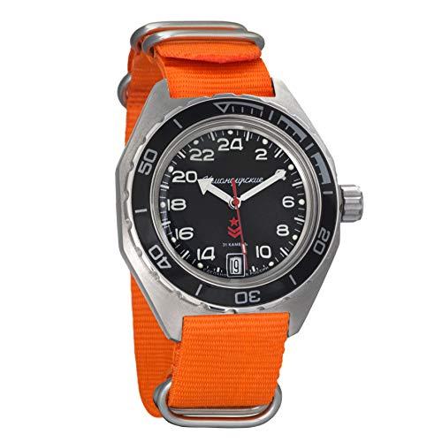 Reloj de pulsera Vostok Komandirskie ruso mecánico automático GMT con dial de 24 horas, sumergible a 200 metros, 650541: acero