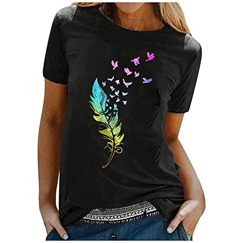 Women Short Sleeve Sunflower T-Shirt Cute Funny Graphic Tee Teen Girls Casual Shirt Top Tank Tops Spring Tops for Womens Flowy Tops for Womens Mock Neck Tops for Womens (5-Black,XXL)