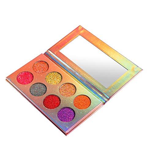 FRsolder Fard à paupières 8 couleurs Pale-tte Glow Glitter Fluorescent Eye Shadows Luminous Palette de Fard à paupières Ombre à Paupières Nude Matte Shimmer Glitter Multi-Reflective Shades Teint Maq