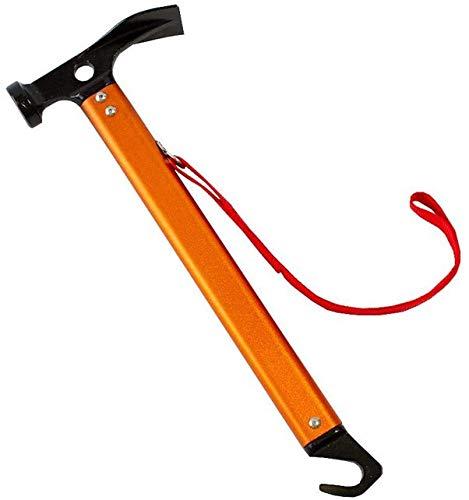 HUZVEL キャンプ用品 ペグハンマー ペグ抜き機能付き 超軽量アルミ製 (オレンジ)