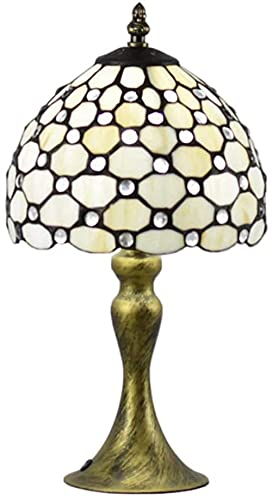 Lámpara de mesa Hecho a mano Vitral Lámpara turca Lámpara de noche Lámpara de escritorio clásica Arte decorativo para dormitorio Sala Bar Café Mesa -blanco