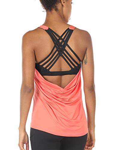 icyzone Damen Sport Tops mit Integriertem BH - 2 in 1 Yoga Gym Shirt Fitness Training Tanktop (XL, Fusion Coral)