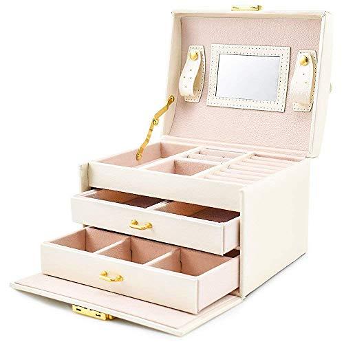 MFBis Sieraden gereedschapskist voor oorbellen Storage Organizer sieraden en cosmetica beauty case met 2 laden 3 lagen