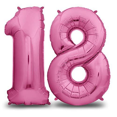 envami Luftballon Geburtstag Nr. 18 XXL Pink - Riesen Folienballon in 40