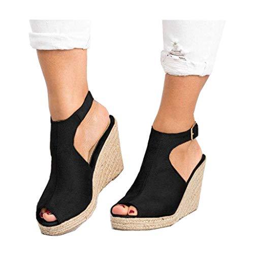 Cenglings Wedges Sandals,Women s Fish Mouth Espadrilles Slingback Platform Sandals High Heel Ankle Strap Beach Shoes Black