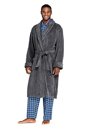 Lands' End Men's Turkish Terry Cloth Robe Calf Length with Pockets