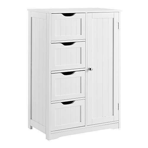 [en.casa] Mueble de baño – 81x55x30cm – Blanco con 4 cajones y 3 estantes