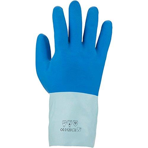 Asatex 3454 M/8 Gants de protection chimique en latex, Bleu, Taille 8