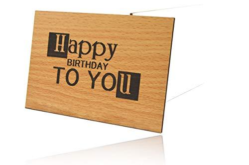 Beschreibbare Holz Grußkarten Set 3D Tiefenrelief Holzkarte Happy Birthday To You - 100% Made in Germany - Postkarte · Karte · Grußkarte · Geschenkkarte · Für Geburtstag Glückwünsche