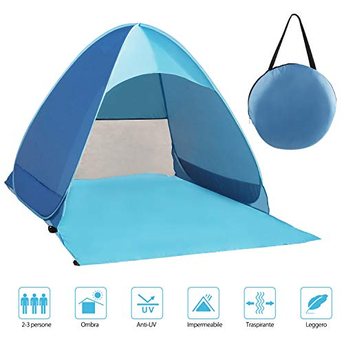 Fenvella Tenda da Spiaggia, Tenda Mare Pop Up Portatile con Protezione Solare UPF 50+ per 2-3 Persone, Custodia Inclusa, Colore Blu