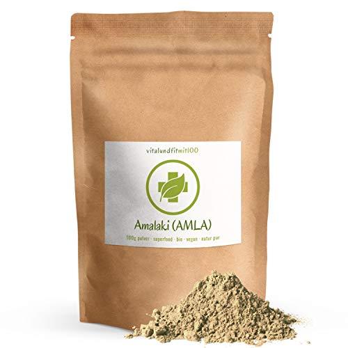Bio Amalaki (Amla) Pulver - 100 g - zertifiziert - in Rohkostqualität - Superfood - Premiumqualität - 100% vegan & rein - glutenfrei - OHNE Hilfs- u. Zusatzstoffe