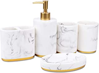 Jung Ford 5-Piece Bathroom Counter Top Accessory Set - Dispenser for Liquid Soap or Lotion, Soap Dish, Toothbrush Holder and 2 Tumblers, Marble Imitated Resin