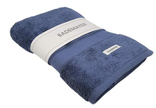 Bademayer Frottier XL Badetuch aus 100% Ägyptischer Baumwolle - Giza 90 x 160 cm Groß Fusselfrei Premium-Qualität Duschtuch Stahlblau