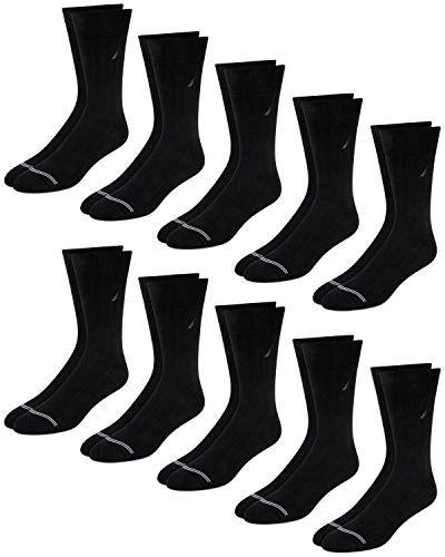 Nautica Mens' Fashion Dress Socks with Moisture Wicking Technology (10 Pack), Black/Grey, Size Shoe Size: 6-12.5