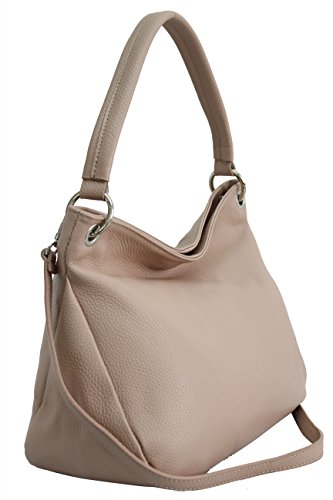 AMBRA Moda Damen echt Ledertasche Handtasche Schultertasche Beutel Shopper Umhängtasche GL002 Viele Farben (Altrosa)