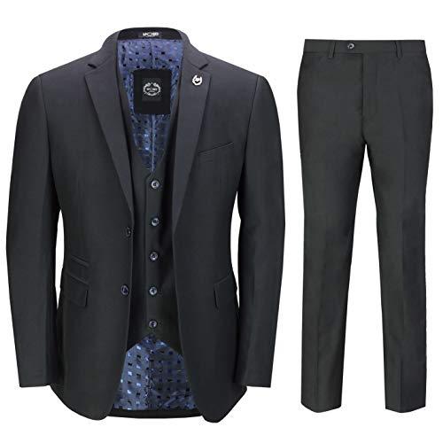 Xposed Mens Black 3 Piece Business Suit Smart Casual Classic Tailored Fit Office Work Formal[SUIT-JROSS-BLACK-48,UK/US 48 EU 58,Trouser 42']