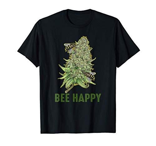 Bee Happy Weed Cannabis Marijuana T-Shirt