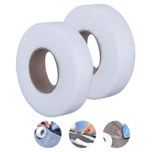 2 Pack Hem Tape Iron-on Adhesive Each 70 Yards Fabric Fusing Hemming Tape for Clothes (1/2 Inch and 1Inch)