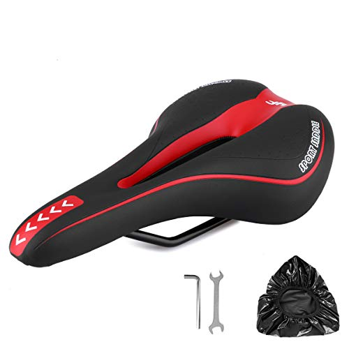Robylin Professional Bicycle Saddle, Comfortable Bike seat Replacement with Central Relief Zone and Ergonomics Design for Mountain Bikes, Road Bikes, Trekking Bikes, Universal Exercise Bike,Red