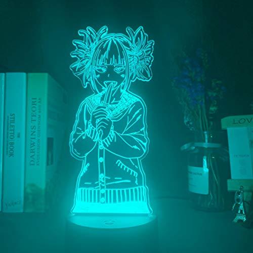 Led Nachtlicht My Hero Academia Toga Himiko Figur Geschenk Nachtlicht FüR Kinder Schlafzimmer Dekoration Licht Nachttisch 3D Lampe USB 16colorwithremote