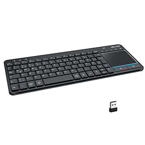 Jelly Comb Dual Bluetooth + 2.4G Funktastatur mit Touchpad, Kabellose QWERTZ Tastatur mit Deutsch Layout für 3 Geräte, Windows PC/Computer/Laptop/MacOS MacBook/Android Tablet/iOS iPad, Schwarz