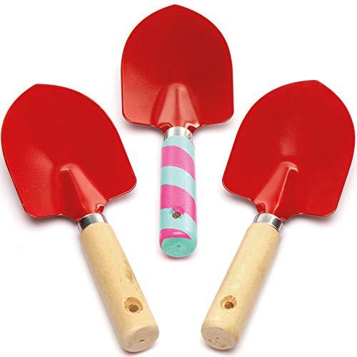 Baker Ross- Palas de jardinería (Pack de 3) Manualidades de herramientas de jardinería infantiles para decorar y regalar