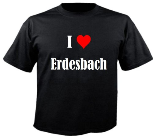 Camiseta I Love Erdesbach para mujer, hombre y niños en los colores negro, blanco y rosa. Negro 10 años