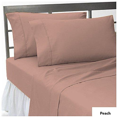 Noble Comfort Linen Drap Plat Ultra Doux 400 Fils - Taille King - Couleur pêche - 100% Coton égyptien