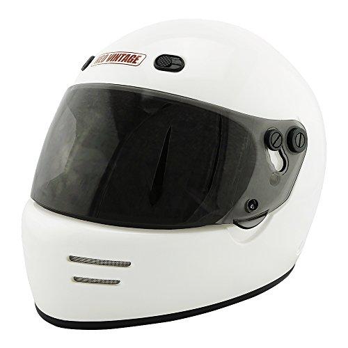 NEO VINTAGE ドラッガースタイル フルフェイス SG規格品 ステッカー付 [ホワイト×ライトスモークシールド 白 Lサイズ:59-60cm対応] VT-6 バイクヘルメット