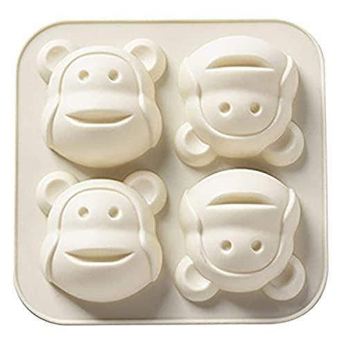 QWET Kuchenform für Ostern, 4 Löcher, kleiner Affe, Muffin, Schokolade, Kekse, Backform, für Kekse, Schokolade, Süßigkeiten, Eier, Oster-Kuchendekorationen (weiß)
