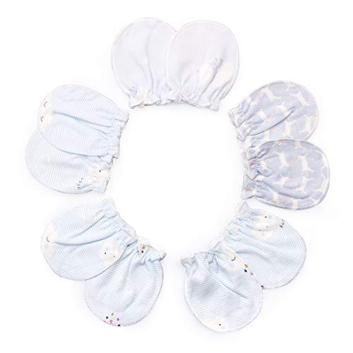 Bébé garçon filles gants nouveau-né pas de mitaines à gratter 5 paires Mitaines nouveau-nés 0-6 mois Filles Garçons (blue)