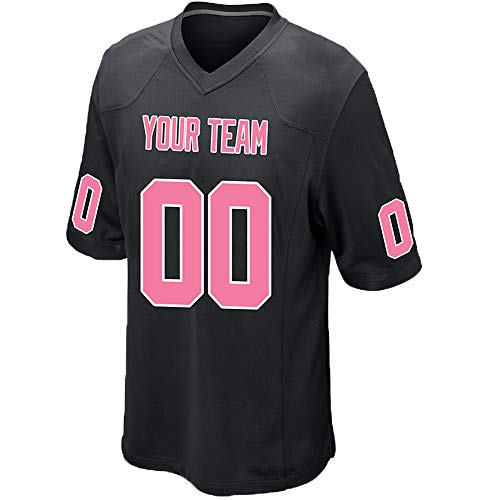 Custom Men's Black Mesh Football Game Jersey Stitched Team Name and Your Numbers,Pink-White Size L