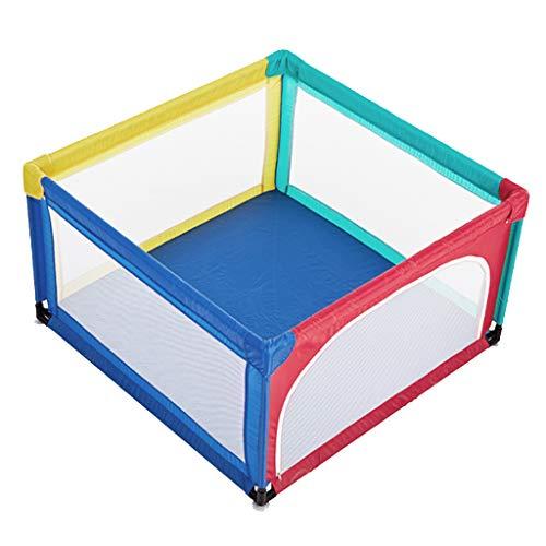 YF-Watch Cajas de Seguridad portátil Crawling Kids Parque de Juegos Valla Cuadrada de Malla Patio de Juego con Bases robustas Antideslizante Centro de Actividades 47,24 Pulgadas × 47,24 Pulgadas