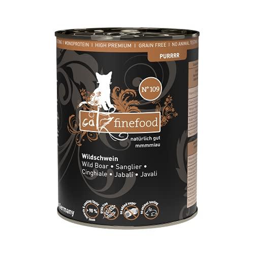 catz finefood Purrrr Wildschwein Monoprotein Katzenfutter nass N° 109, für ernährungssensible Katzen, 70% Fleischanteil, 6 x 400g Dose