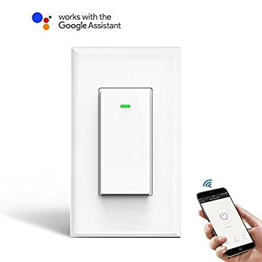WI-FI Smart Wall light switch [1 Pack], OMOTON Wireless Timing Switch Outlet compatible with Amazon Alexa and Google Assistant, No Hub Required, Natural Wire Required, App Control from Anywhere