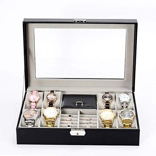 THj Caja de Relojes Caja de Relojes Caja de Almacenamiento de Relojes Cuero sintético con Tapa de Vidrio con Cerradura para Hombres y Mujeres Exhibición de Relojes Regalo/Negro / 30x20.2x8cm