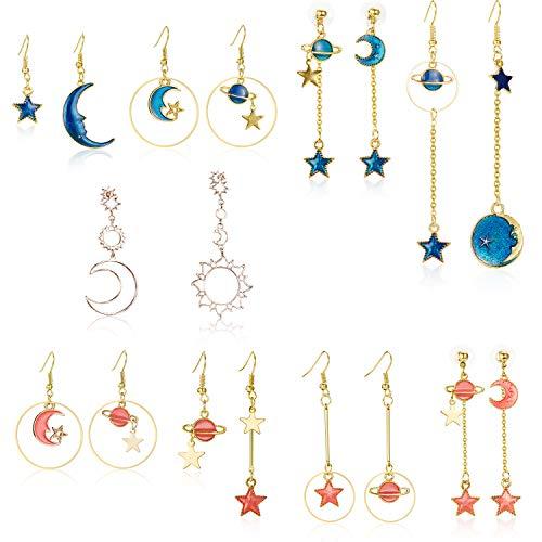 9 Pairs Star Moon Earrings Earth Moon Earrings Sun Moon Earrings Asymmetric Earrings Bohemia Moon Earrings for Girls Women