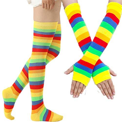 Calcetines altos y guantes sin dedos de punto para mujer, con diseño de rayas multicolor, ideales como accesorios para disfraz