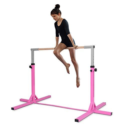 DREAMADE Kinder Gymnastik Turnreck, Reckstange 12-stufige höheverstellbar, Trainingsstange Tanzstange bis 100kg belastbar für Kinder Junior, Trainingsgeräte aus Stahlgestell & Massivholz (Pink)