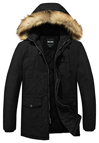Wantdo Men's Casual Winter Thick Hooded Heavy Cotton Padded Jacket Coat Medium Black